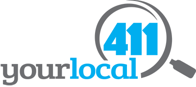 Your Local 411 in Magnifying glass logo